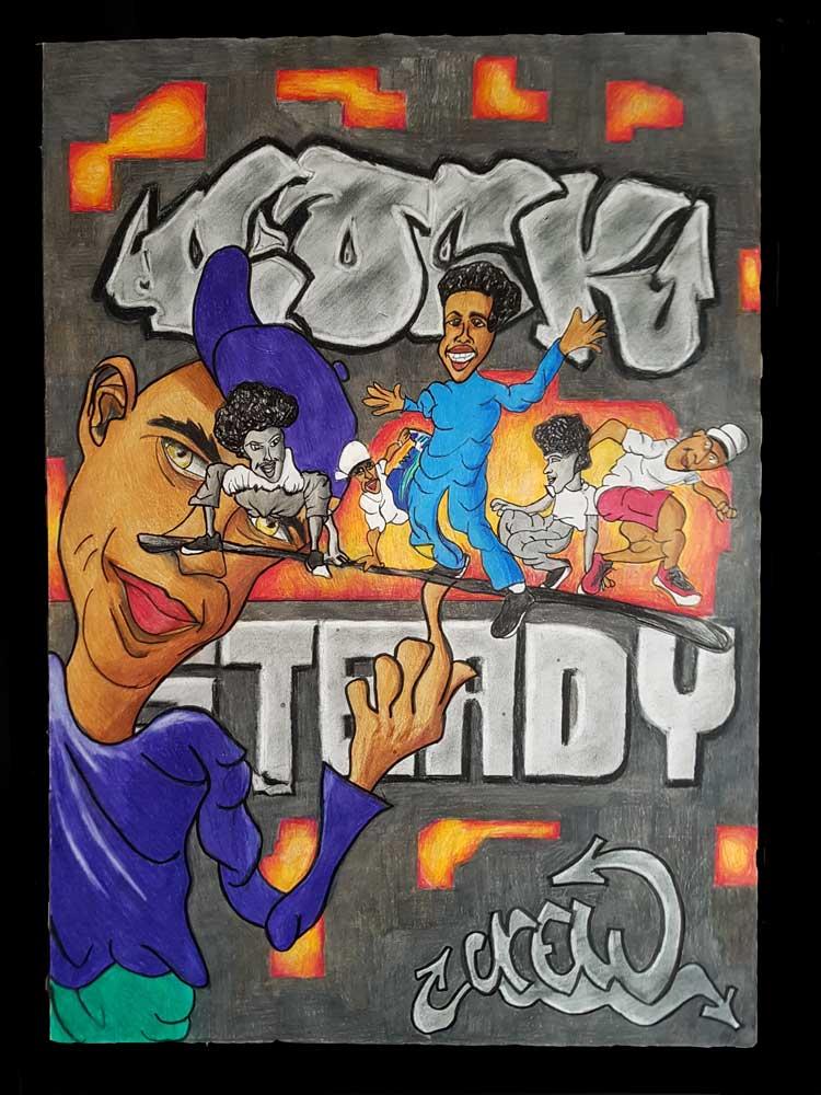 Crazy Legs (Rock Steady Crew) - b-boy pionier en icoon - portret tekening (Polychromos op 220 grams A2 papier) (Sven Bakker)
