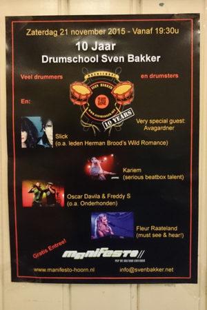10 jaar Drumschool Sven Bakker concertposter