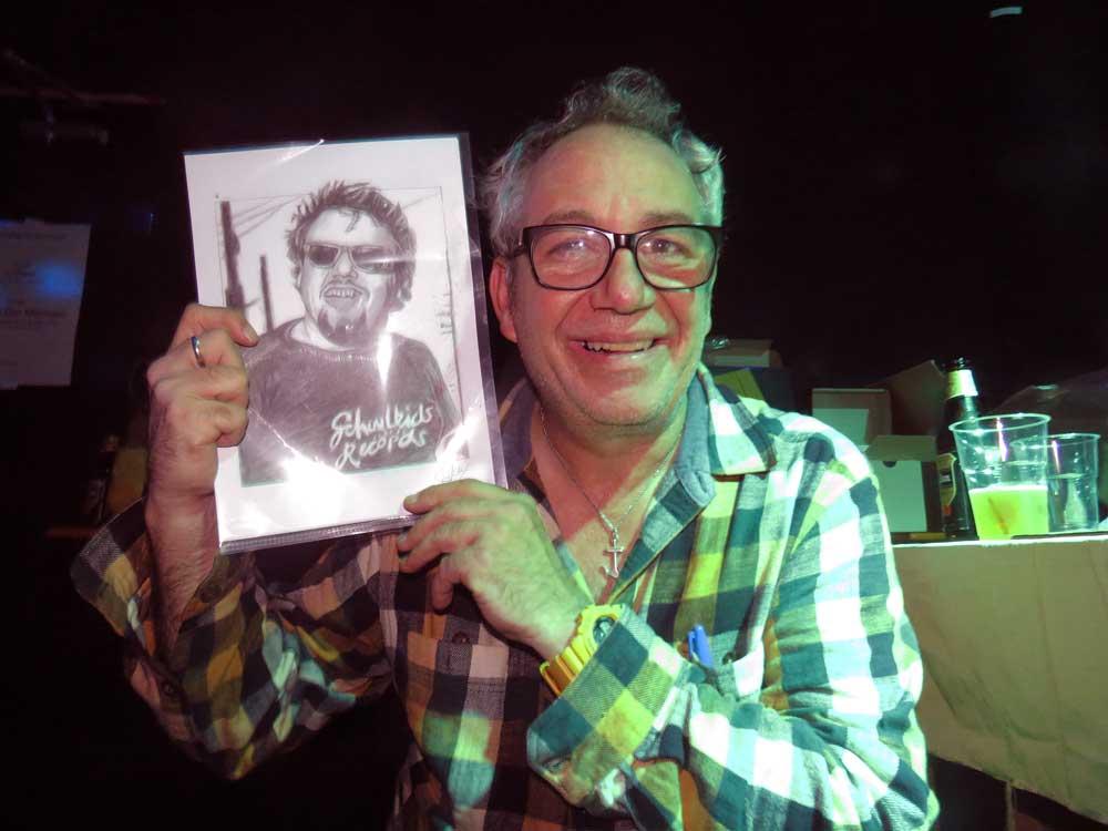 Reactie van Mike Watt op mijn tekening van D. Boon was goud @ dB's Utrecht (Sven Bakker)