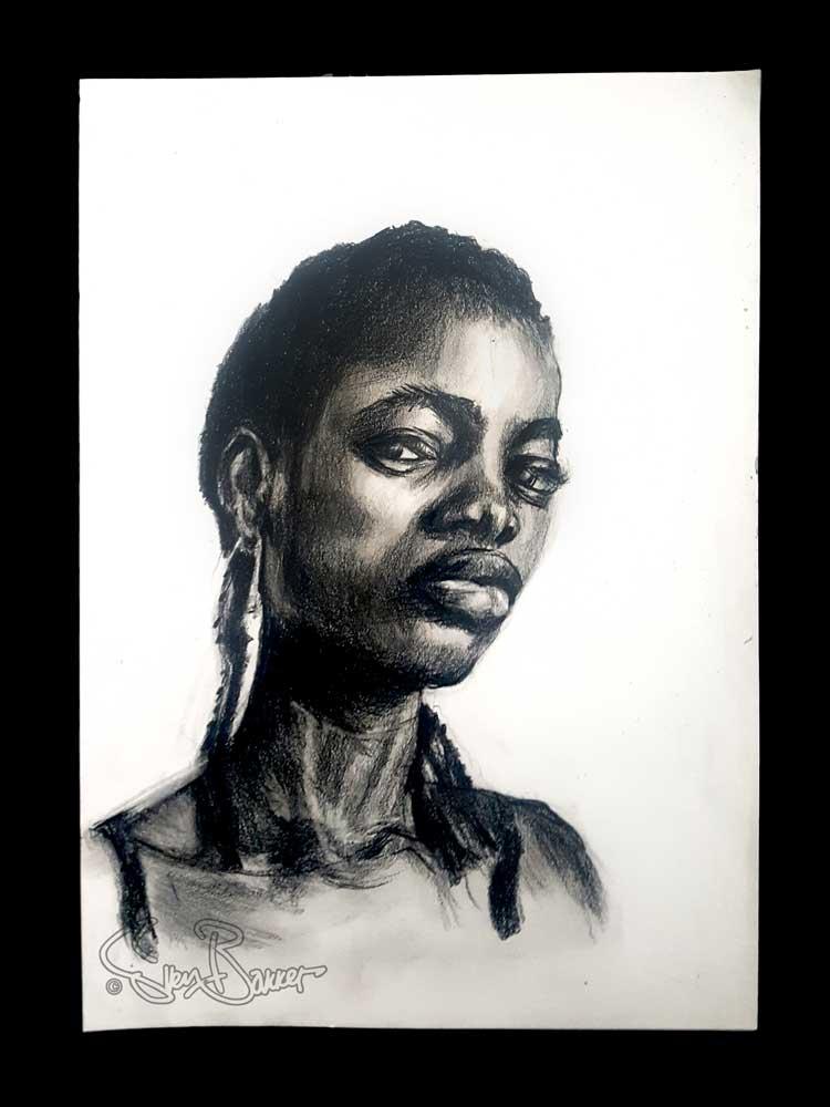 Portret tekening donker meisje (zwarte polychromo op 180 gr. A4) (Sven Bakker)