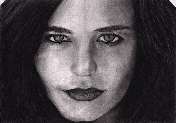 Eva Green houtskool tekening (Sven Bakker)