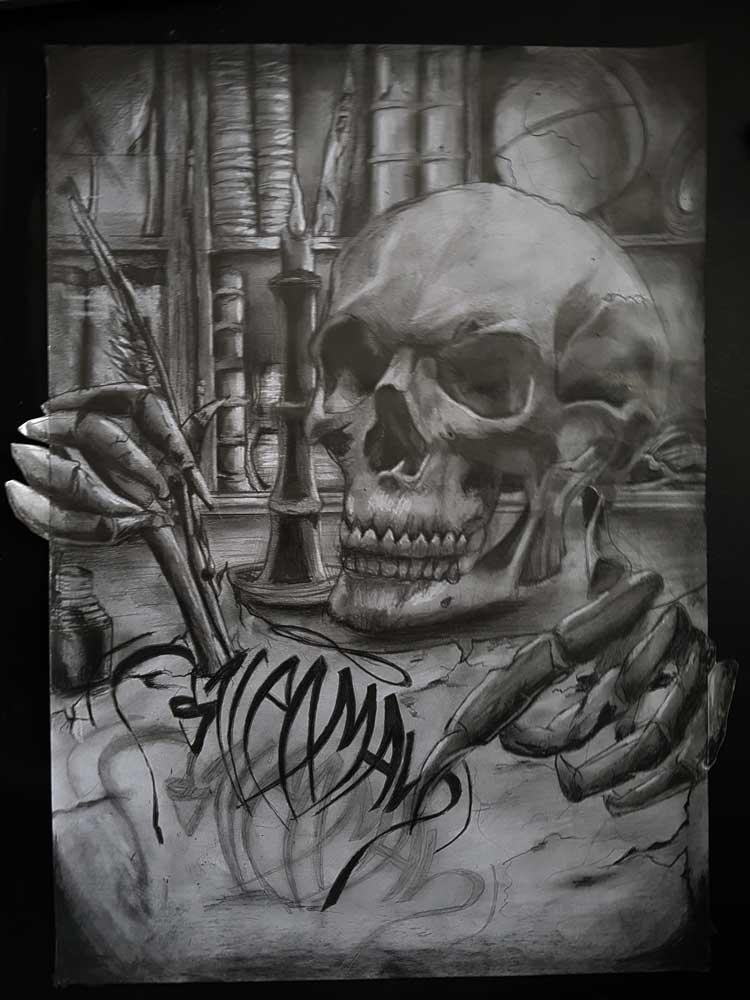 Realistische schedel 3d tattoo/calligraffiti (grafiet op 80 gr. A3 papier) (Sven Bakker)