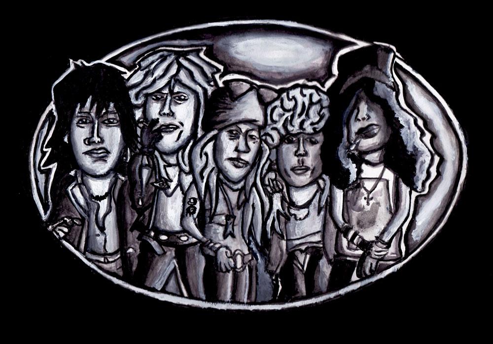Guns N Roses beltbuckle ontwerp (aquarel) a4 formaat (Sven Bakker)