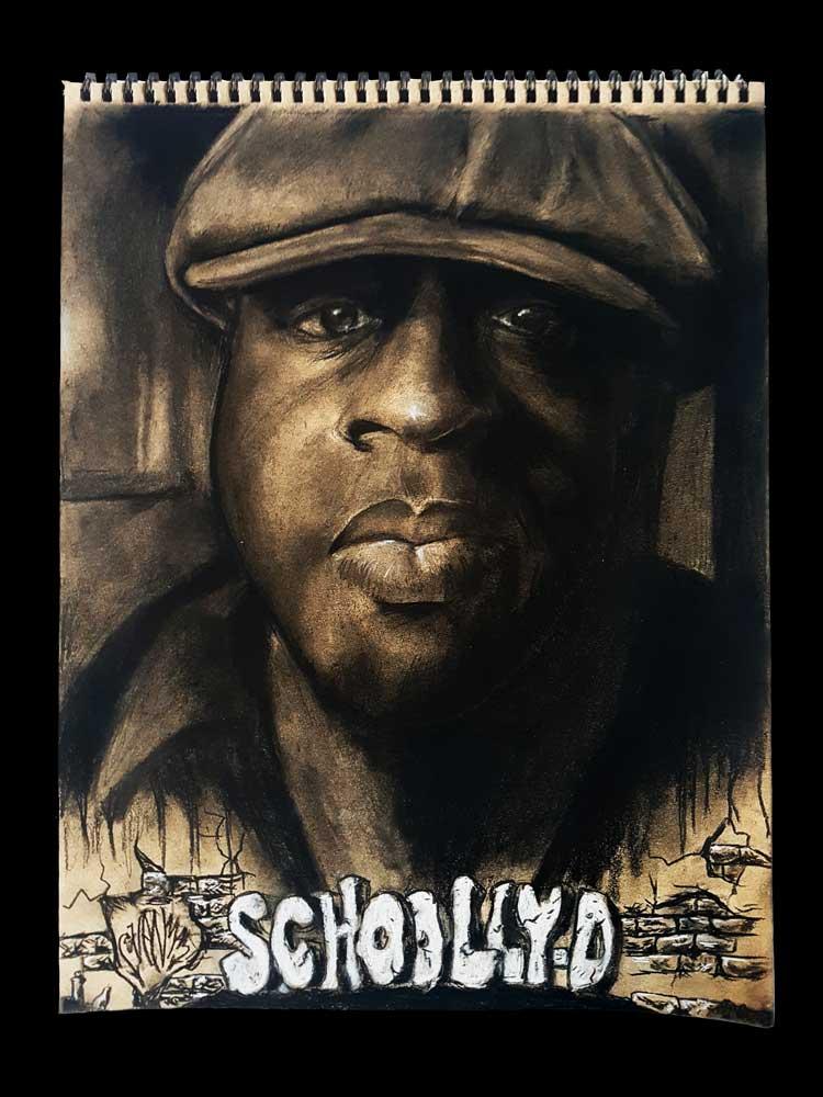 Schoolly D. tekening (houtskool portret op 180gr. getint papier) (Sven Bakker)