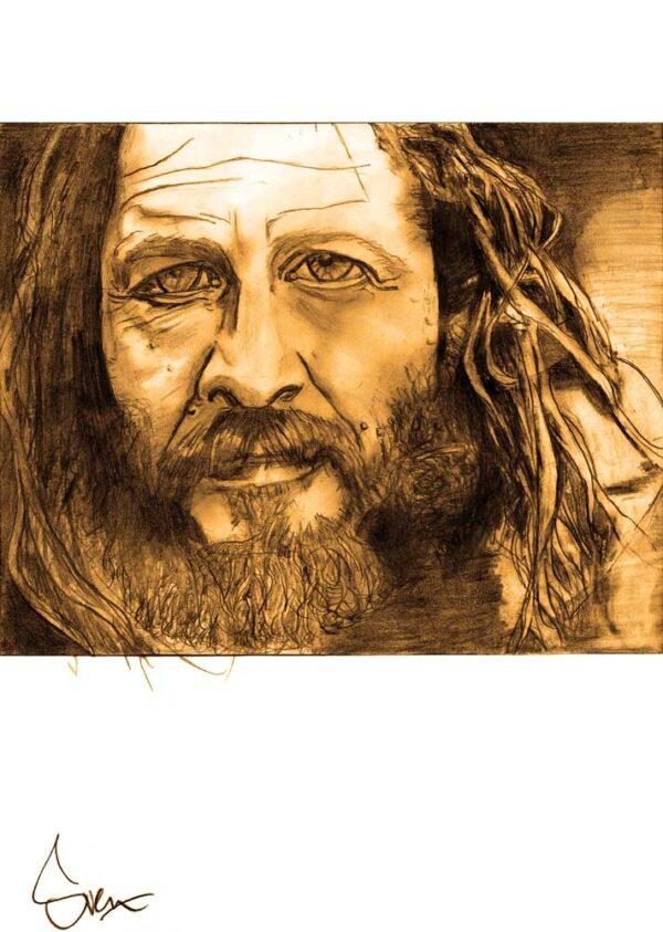 Portrait drawing Tony Alva in graphite by Sven Bakker