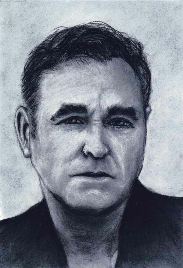 Morrissey charcoal drawing by Sven Bakker