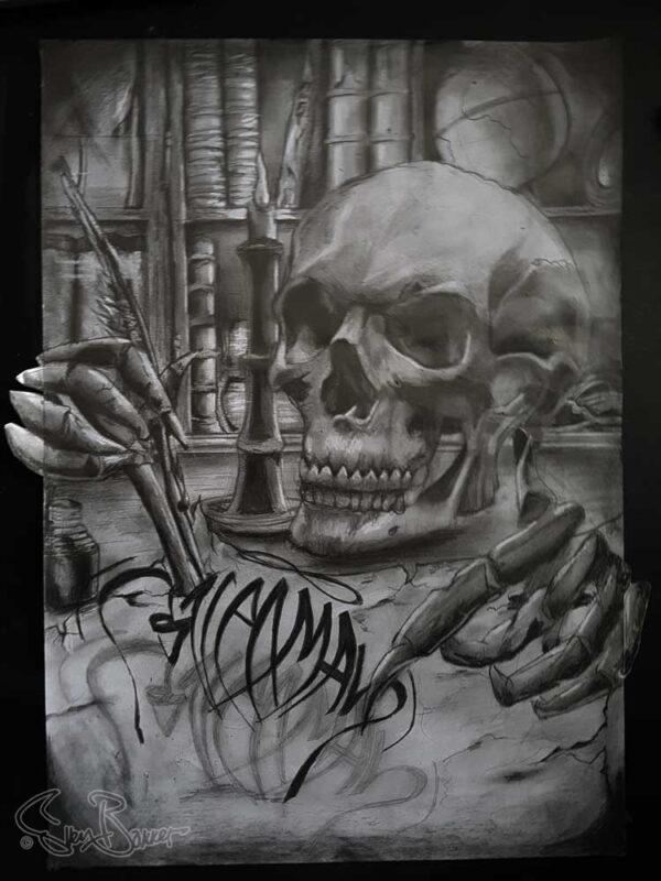 GraphiteDrawing-3d-Realistic Skull Calligraffiti Tattoo by Sven Bakker
