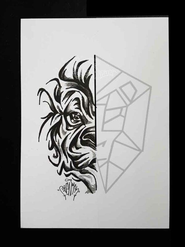 Sven Bakker geometric tattoodesign lion by Sven Bakker